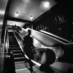 Transient (Seb.Seabass) Tags: escalator stairs black white gopro hero 3 leading liens transient mystery late hour low light monochrome high contrast hawaii honolulu university