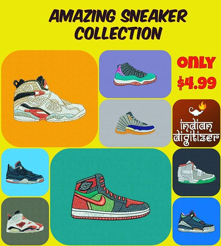 Amazing #sneaker collection, just listed on #etsy for just $4.99 - a total of 8 beautiful shoes for #embroidery.  etsy.com/shop/indiandigitizer  #sneakers #shoes #collection  #footlocker  #nike  #jordans  #air  #machineembroiderydesigns  @ez_stitcher
