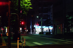 (  / Yorozuna) Tags:    wakamatsukawada  road  crosswalk   conveniencestore   store shop   silhouette  light   night nightscape nightview nightfall  midnight citylights   street   shinjukuward  tokyo japan pentaxautotakumar55mmf18