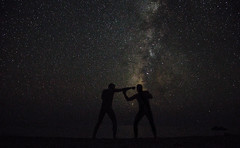star fight (Ommation (Vasilis Benakis)) Tags: stairs greece greek ground sea summer nature nude nightshot nights crete shadows milkyway galaxy andromeda fight mens ellada krhth asteria skiew     explore highexposure sky night man nightsky love romantic starwars bigbang first sureal amateur