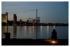 Solitude industrielle (Photocg) Tags: reflets canal usine solitude heurebleue chemine embouchure lumiredusoir blues rverie