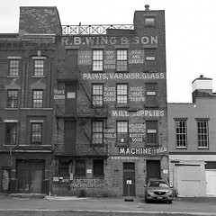 R.B. Wing & Son (Abandoned) (New Paltz Camera Company) Tags: r b wing son store hardware albany ny new york bob esposito hudson river valley signs yashica mat em yellow filter kodak trix 400 expired 120 film xtol 11 developer epson v800 scanner yashinon lens black white monochrome analog analogue abandoned