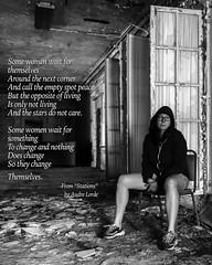 269.366 (sadandbeautiful (Sarah)) Tags: me woman female self selfportrait 366daysx7 366days bw feminism day269 audrelorde abandoned