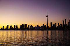 Toronto Skyline - Sunset (Billy K. Chen) Tags: canada ontario toronto travel sightseeing tourism city downtowntoronto waterfront ferry reflection skyline sunset magichour dusk centreisland cntower rogerscentre torontoskyline