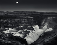 Moonlight Serenade (clayscots91) Tags: moon falls gullfoss iceland landscape black white monochrome bw nd110 long exposure water waterfall island gullfossi sigma 24mm 14 wide angle
