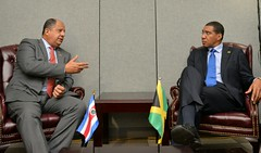 Prime Minister  the Most Hon. Andrew Holness, in a Bilateral Meeting with President of Costa Rica, His Excellency Luis Guillermo Solís