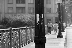 So Paulo - Viaduto Santa Efignia (Edinei Matos) Tags: nikon d3100 nikkor 18200mm sopaulo blackandwhite bw monochrome urban wandering trip travel tour men woman people couple elderly tourist contrast building architecture facade downtown light shadow efignia bridge sunday vacation holiday city outdoor outside culture clicksp perspective greatphotographers
