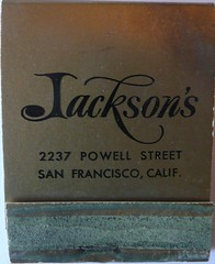 JACKSON'S SAN FRANCISCO CALIF (ussiwojima) Tags: sanfrancisco california bar advertising restaurant lounge cocktail jacksons matchbook matchcover
