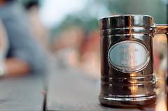 Groom's Mug (Burrosito_Bandito) Tags: wedding party film beer dinner 35mm garden groom backyard married minolta kodak marriage wed mug booze stein newlywed vows engraved engrave xg1