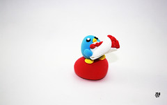 Air dry clay figure (ordinarilykw) Tags: sculpture penguin handmade crafts chibi valentine kawaii classy redbowtie airdryclay