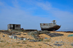house boat (The Urban Adventure) Tags: blue sky urban abandoned beach 35mm boats coast wooden chains kent fishing nikon rust bokeh pebbles shipwreck naturereserve dungeness derelict fishingnets d7000