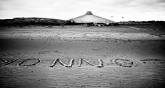 ouuo (caerphoto) Tags: blackandwhite bw beach blackwhite sand upsidedown text letters waterloo crosby crosbybeach
