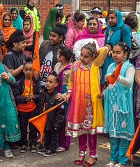 Sikh ladies and children waiting for the start of the 2013 Vaisakhi festival parade in Southampton (Anguskirk) Tags: uk england color colour festival hampshire procession sikh gurdwara southampton turbans saris vaisakhi nagarkirtan
