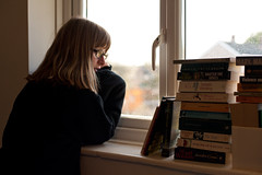 (evilibby) Tags: window glasses book waiting books blonde libby 365 windowsill mybedroom hemma 365days 3656 365days6