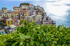 Manarola (fede_gen88) Tags: houses light sea italy sun water coast nikon colorful mediterranean italia colours dof village five liguria depthoffield terre coastline colourful lands manarola cinque ligurian d5100