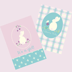 baby cards (countrygarden) Tags: vectorart littlegirls whiterabbit cathierichardson countrygardenstitchery welcomebabygreetingcard