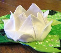 Lotus Flower Mug Rug (waggonswest) Tags: green pond origami quilt lotus patchwork lilypad craftster artquilt mugrug