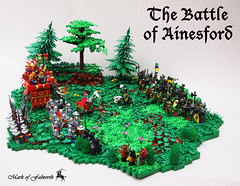 (LCC) The Battle of Ainesford (Mark of Falworth) Tags: castle forest landscape army woods war lego battle scene knights lcc moc loreos lenfald