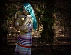 The Protector (Rachel Cherechinsky) Tags: blue selfportrait love girl childhood forest photoshop self canon hair woods pretty photographer child dream fairy fantasy canonrebel bluehair childish protect childlike cameraraw