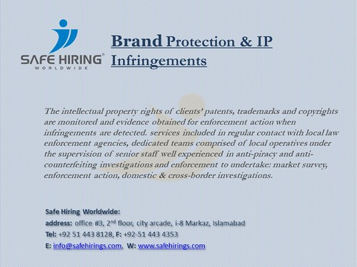 Brand Detection & IP INFRINGEMENTS - Safe Hiring World Wide