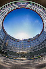 Day #1948 (cazphoto.co.uk) Tags: london architecture circle courtyard bbc sungod helios televisioncentre localelections project365 010513 canoneos7d beyond1827 canon815mmfisheyeeff4lusm vote2013