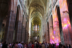 Prague Castle Discotheque  - Prask hrad (DaveMWeber) Tags: blue light people orange color church glass yellow canon disco dance rainbow europe glow republic purple czech prague pillar kitlens stained nave refraction czechrepublic 1855mm mirrorball 550d t2i