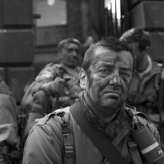 Soldier (Julian Dyer) Tags: vintage blackwhite yorkshire haworth ilfordfp4 ilfordddx mamiyac330f mamiya80mmf28 haworth1940sweekend