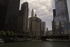 HDR_Chicago River_Dark desaturated (cdiebold817) Tags: city bridge trees summer people urban chicago building cars water night river lights town warm skyscrapers traffic edited faded tall hdr populated illinoise hdrfinal