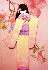 ATC1197 - Pink beauty (tengds) Tags: pink flowers atc fan purple geisha kimono obi origamipaper papercraft recycledpaper japanesepaper washi ningyo handmadecard chiyogami japanesepaperdoll origamidoll nailartsticker tengds origamiwashi reusedcard