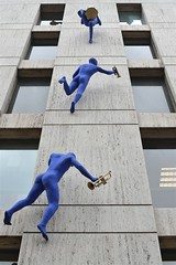 2013-05-15: Climbing Blue Men (135/365) (psyxjaw) Tags: street blue windows building men london statue office high advert borough marble londonist