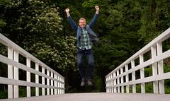 I am free! (glukorizon) Tags: bridge white plant tree green jumping groen boom luc merry brug cheerful wit zelfportret selfie odc vrolijk springen followyourbliss odc2 ourdailychallenge