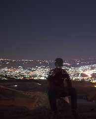 Nobody knows (Yazan_) Tags: night summer longexposure lights portrait transparent averagejoe normal outfit cliff elevation highaltitude