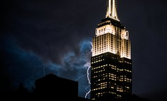 Charged (SteveJamesPhotography) Tags: sky scraper lightning night weather fork bolt extreme light clouds empire state building new york canon 24105mm 5dmk3 city summer black background architecture tower strike extremeweather humid