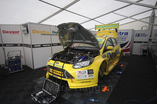 The Dextra Racing garage a the BTCC weekend at Knockhill, August 2016