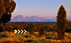 Looking towards Kata Tjuta at dawn (krillmerma) Tags: australia kata tjuta dawn sign roadsign distraction olgas outback