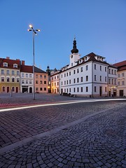 Small Square and the Old Town Hall (safris76) Tags: whitefacade walkway travel townhall street state square sky sidewalk roof public pavement oldtown old office night lowlight longexposure light lamp hradeckralove historicalbuilding europe dirt darkness czech city bluehour blue architecture