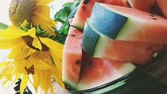 Today's harvest: Sunflowers and watermelon (MDawny72) Tags: creativetabletop sunflowers watermelon harvest homegrown yum sweet iatethis september 2016 myphotography myfavoritethings betterhomesandgardens
