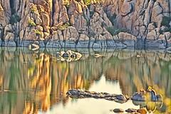 KINDNESS DOESN'T KNOW BOUNDARIES (Irene2727) Tags: lake lakescape scape waterscape water reflections rocks nature lakewatson prescott arizona