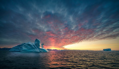 A Sunset In Greenland (hpd-fotografy) Tags: arctic greenland scandinavia bluehour clouds cold cruise dramatic goldenhour ice iceberg landscape light north sailing sea seascape sunset water weather wideangle ~themagicofcolours~xii
