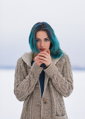 Feeling Cold (Ash and Debris) Tags: blue girl winter cold hair beauty hands bluehair snow white