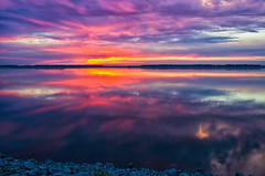 First Sunset of Fall (ramseybuckeye) Tags: sunset allen county ohio bresler reservoir fall autumn first day sky water reflections clouds pentax art life