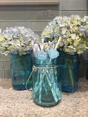 Baby Shower Decorations (wellnesswildflower) Tags: baby shower blue boy flowers straws decoration decor glass vase mug mason jar celebration party hydrangea