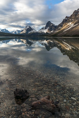 Bow Lake - still morning (NettyA) Tags: 2014 alberta canada canadianrockies northamerica sonynex6 mountains travel bowlake banffnationalpark reflection lake rocks clouds landscape