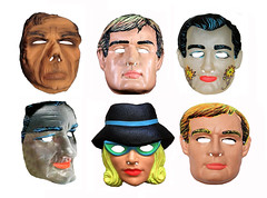The Man From UNCLE - TV Halloween Masks 1001 (Brechtbug) Tags: man from uncle halloween masks vintage top row l to r a stand for alexander waverly leo g carroll like mask illya kuryakin david mccallum napoleon solo robert vaughn next is again april dancer stefanie powers weird groovy hep hip screen grab ben cooper collegeville halco usa us america costume cold war