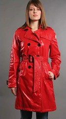 Moncler Shiny Nylon Trench (betrenchcoated) Tags: trenchcoat trench raincoat regenmantel beautifulgirl buttoned shiny red regenjacke nylon