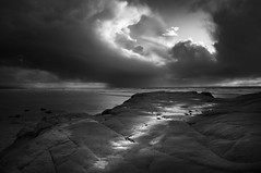 san diego: del mar (William Dunigan) Tags: ocean california county sunset sea sky cliff white storm black beach water rock del clouds photography coast mar san waves pacific north diego formation southern coastal region blackwhitephotos