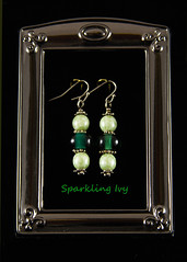 Green Earrings With Silver (SparklingIvy) Tags: silver handmade jewelry bead swarovski earrings lampwork handmadejewelry swarovskicrystals lampworkbeads