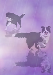 dogs and rain (Teri@wavinggrass) Tags: art dogs rain photoshop teri digitalart wavinggrass