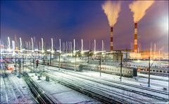 Night train station (Dmitry Mordolff) Tags: lighting city railroad winter urban snow motion blur trafficlights cold station electric night speed train buildings outdoors track industrial crossing russia moscow smoke pipe perspective rail railway blurred junction illuminated steam direction trainstation transportation locomotive vanishing semaphore destinations russianrailways