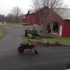 Donna's got the tractor out.. :-) (tshiverd) Tags: square spring farm poodle squareformat wheelbarrow johndeere 2020 2013 bankbarn iphoneography instagramapp uploaded:by=instagram